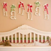 Love the name on the wall with the ribbons except ours would say custom wall letters and crib in our perfect pink and green nursery for my baby princess when i uploaded my little princess pink and green nursery pictures ppazfo