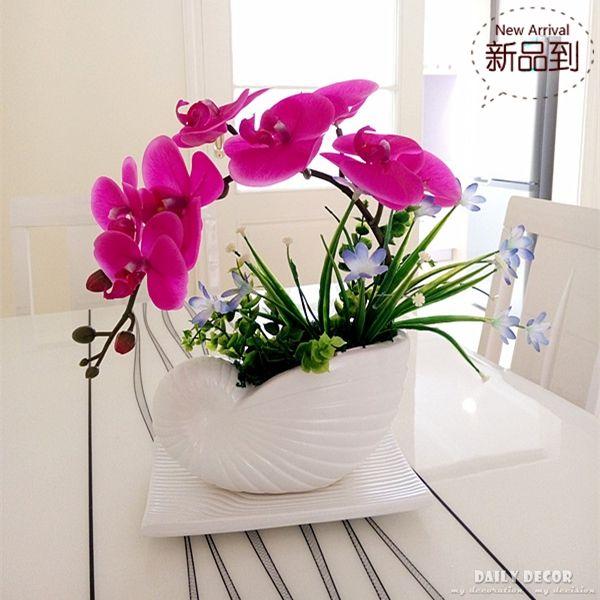 Hohe simulation handgemachte ikebana k nstliche orchidee blumen arrangements lila real touch - Orchideen arrangement ...