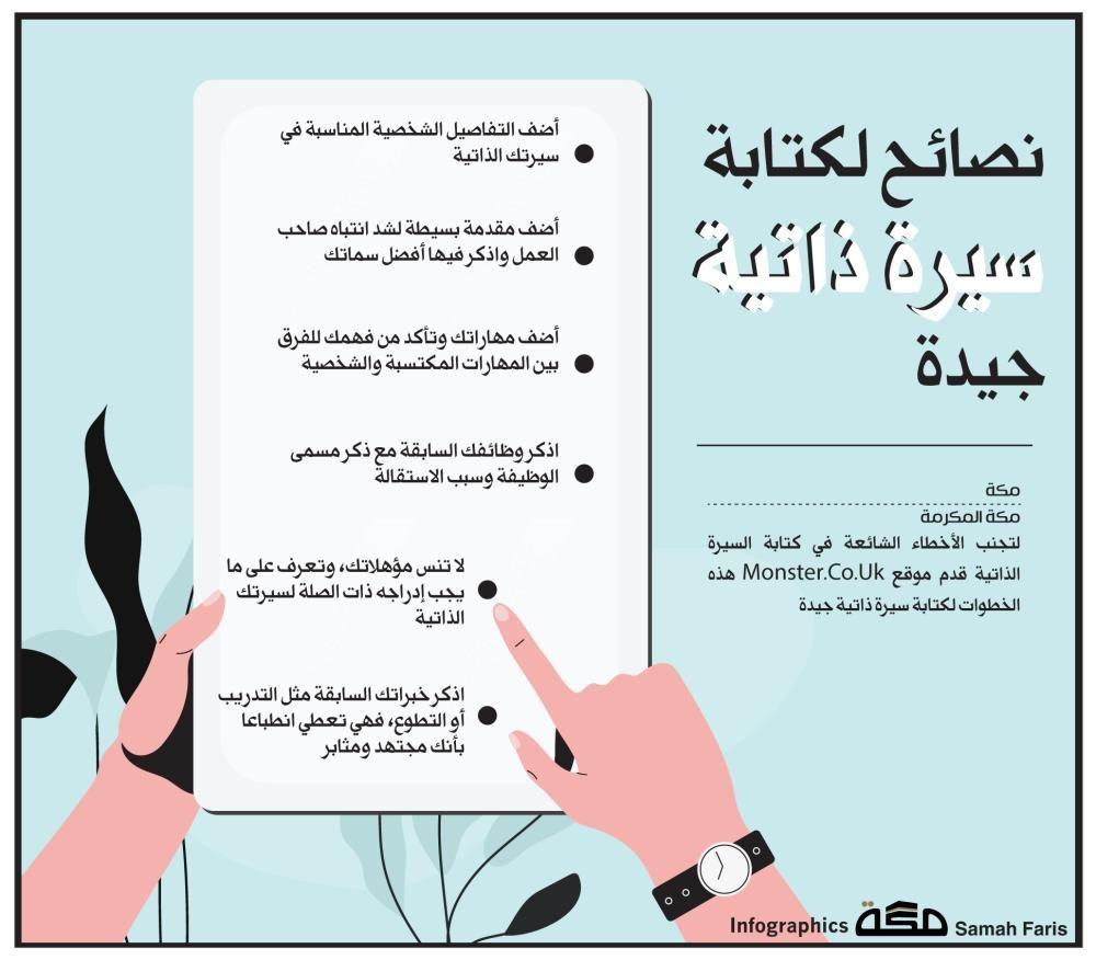 إنفوجرافيك نصائح لكتابة سيرة ذاتية جيدة صحيفة مكة Graphic Infographic جراف نصائح إنفوجرافيك كتابة السيرة ال Learning Websites Learning Infographic