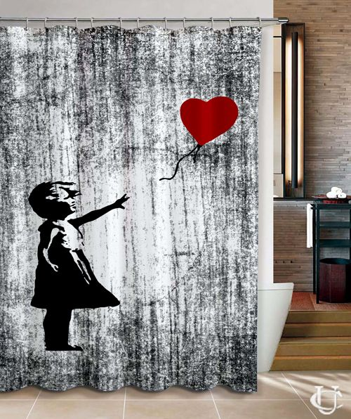 Banksy Girl With Ballon Design Cover Shower Curtain Cheap And Best Quality 100 Money Back Guarantee