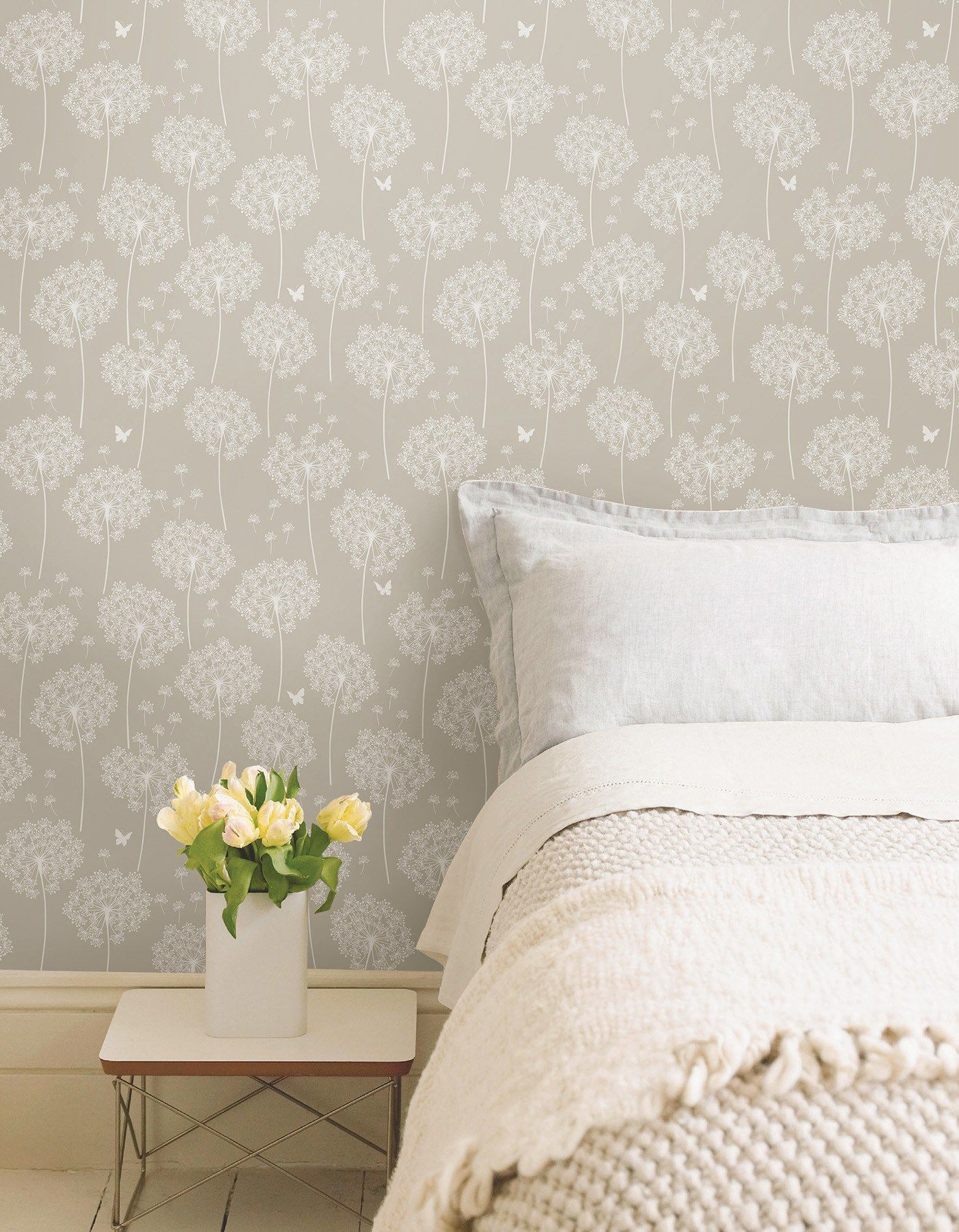 Dandelion Taupe Peel And Stick Wallpaper Nuwallpaper