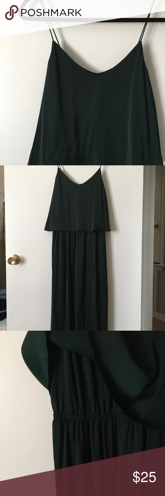 Emerald Green Maxi Dress H&M midi dress with ruffle top overlay. Waist underneath is gathered elastic. Back has a cutout. Dress is sleeveless with thin straps in the same fabric as the dress. Fabric is a great emerald green with a nice sheen. New with tags. Size 12. H&M Dresses Midi