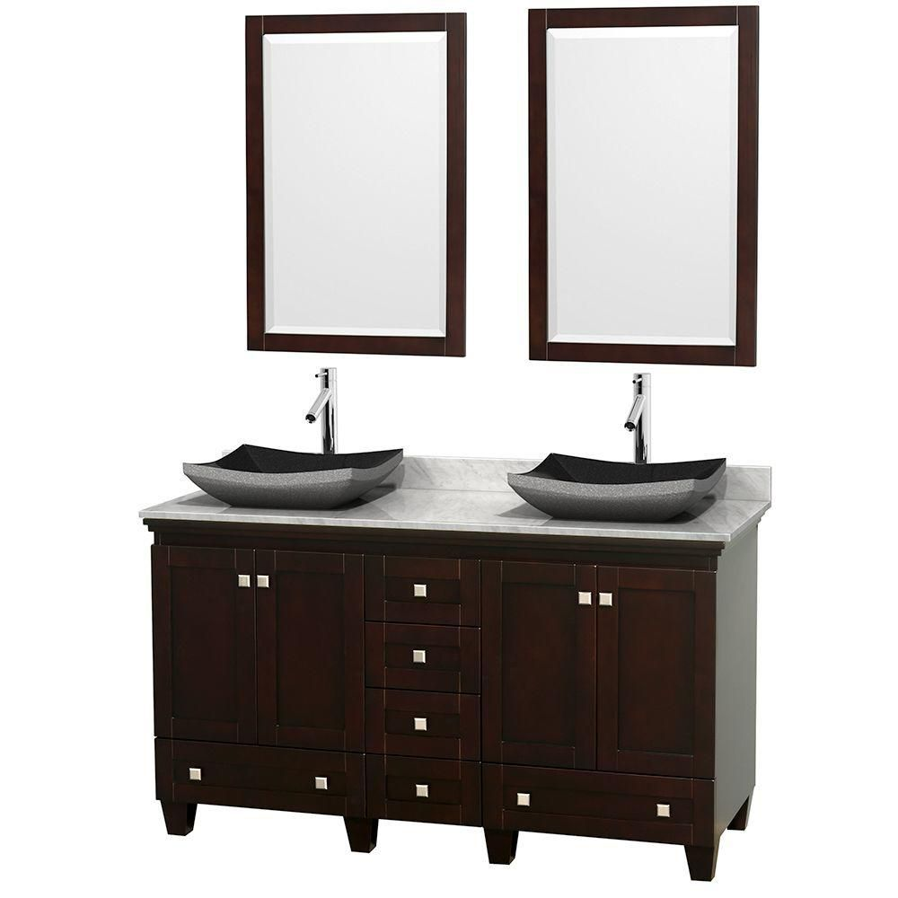 Acclaim 60 Inch W Double Vanity In Espresso With Top In Carrara White Black Sinks And Mi Double Vanity Bathroom Double Sink Bathroom Vanity Marble Vanity Tops