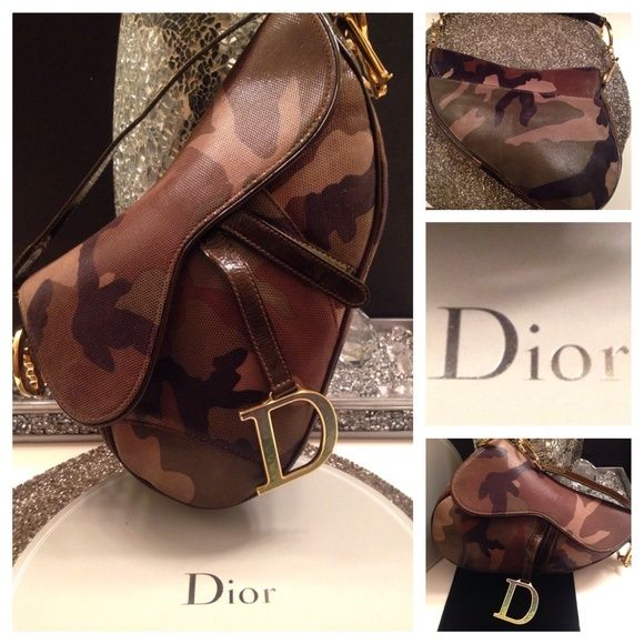 36757cd3eff9 BNWOT CHRISTIAN DIOR CAMOUFLAGE LARGE SADDLE BAG   GUARANTEED AUTHENTIC   CHRISTIAN  DIOR Stunning