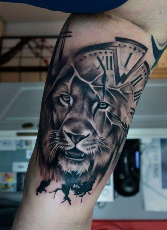 Löwentätowierung, Arm Löwentätowierung, Armtätowierung