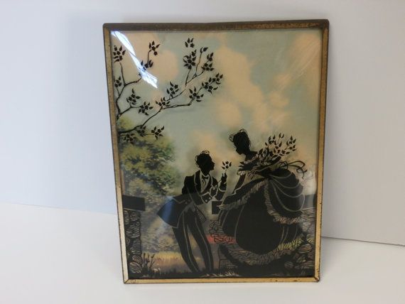 Vintage Silhouette Reverse Painting Courting Couple by MilkandMain