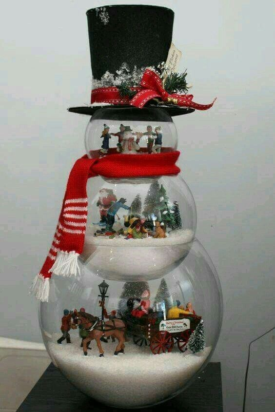 Christmas Decorating Snowman Made Of Fishbowls