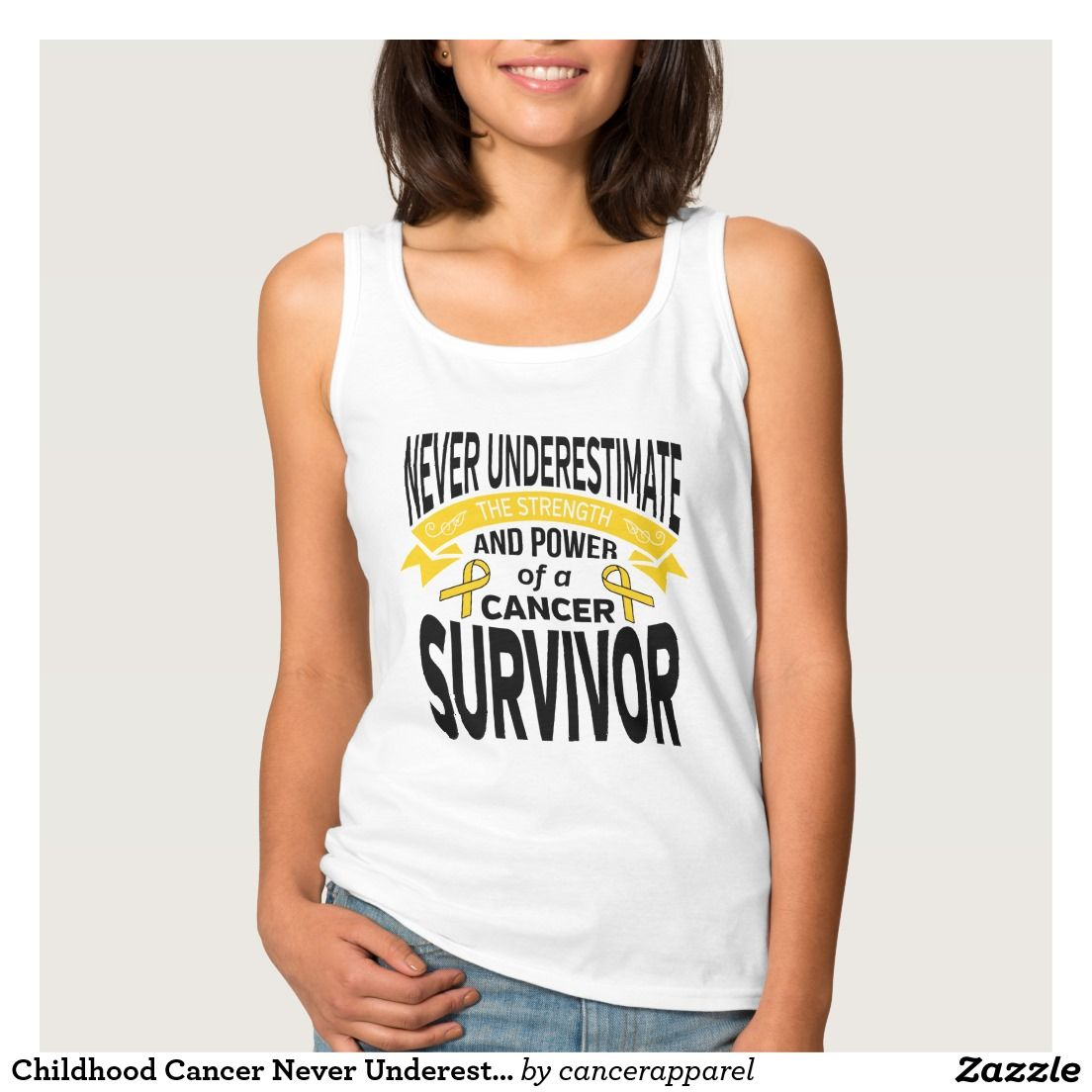 Childhood Cancer Never Underestimate Strength Basic Tank Top by cancerapparelgifts.com #cancerawareness #cancershirts
