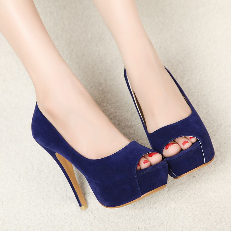 Noble sexy navy blue small square toe open toe platform ultra high heels  single shoes sandals