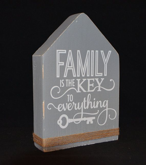 "Wood Block House, Farmhouse decor, ""Family is the key to everything"" Custom order 25.00"