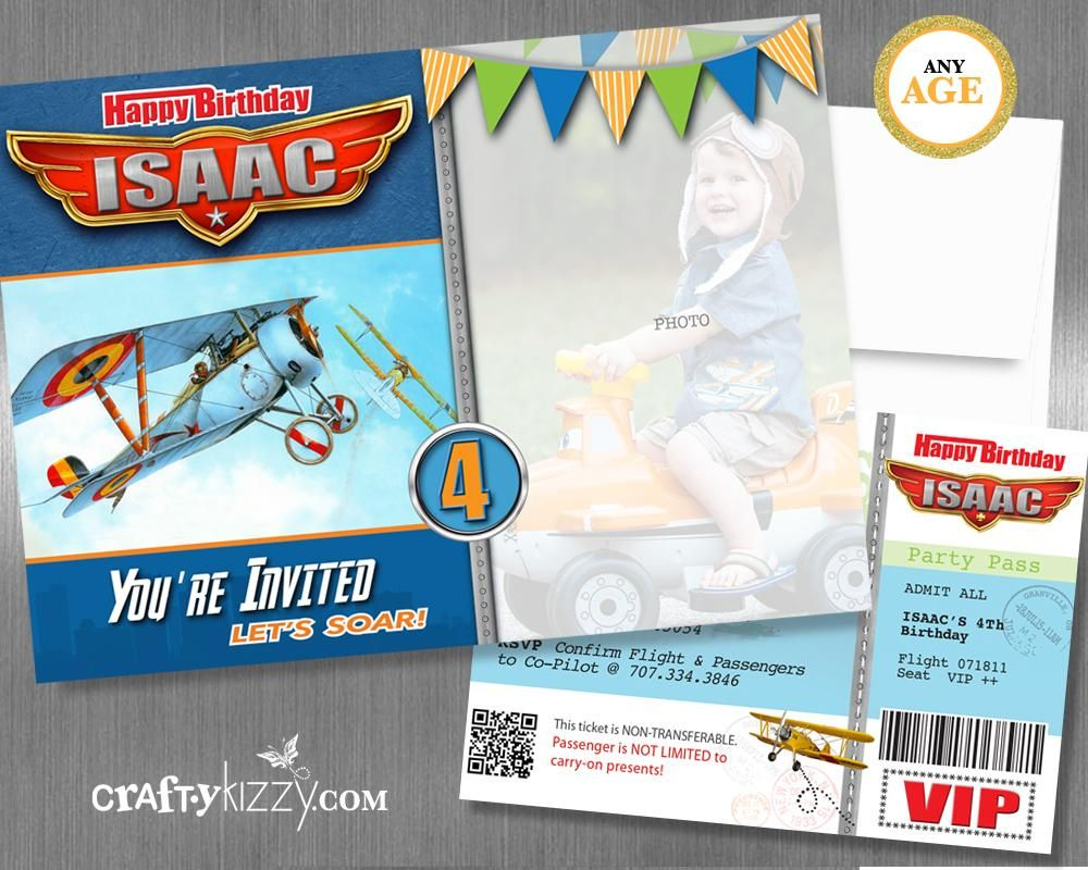 Vintage Airplane Birthday Invitation - Boarding Pass Airplane Party ...