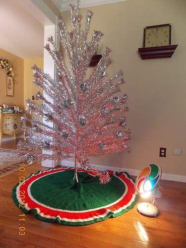Mid Century 50s Sparklr Pom Pom 7 Silver Aluminum Christmas Tree