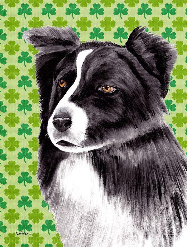 Border Collie St. Patrick's Day Shamrock House Vertical Flag