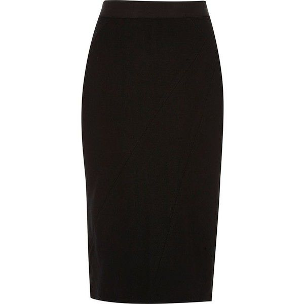 96d15955b2 River Island Black asymmetric seam ponte pencil skirt ($36) ❤ liked on  Polyvore featuring skirts, black, midi skirts, women, tall skirts, ponte  skirt, ...