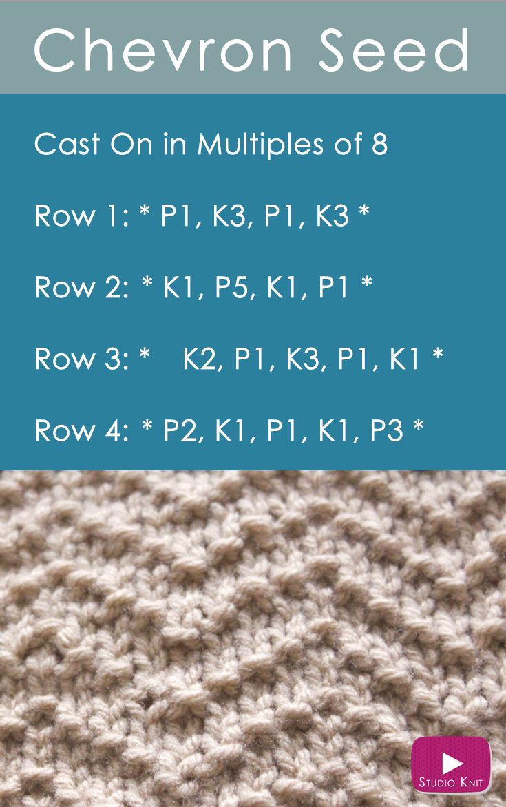 How to Knit the Chevron Seed Stitch Pattern with | Pinterest | Seed ...
