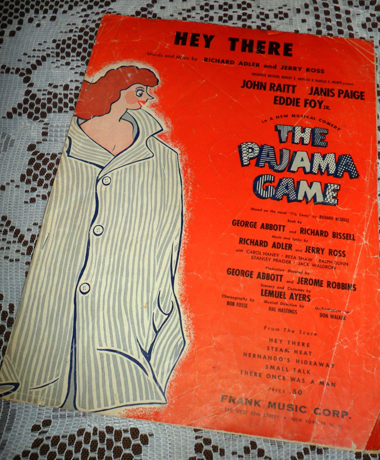 Vintage 1954 Sheet Music Hey There The Pajama Game ...