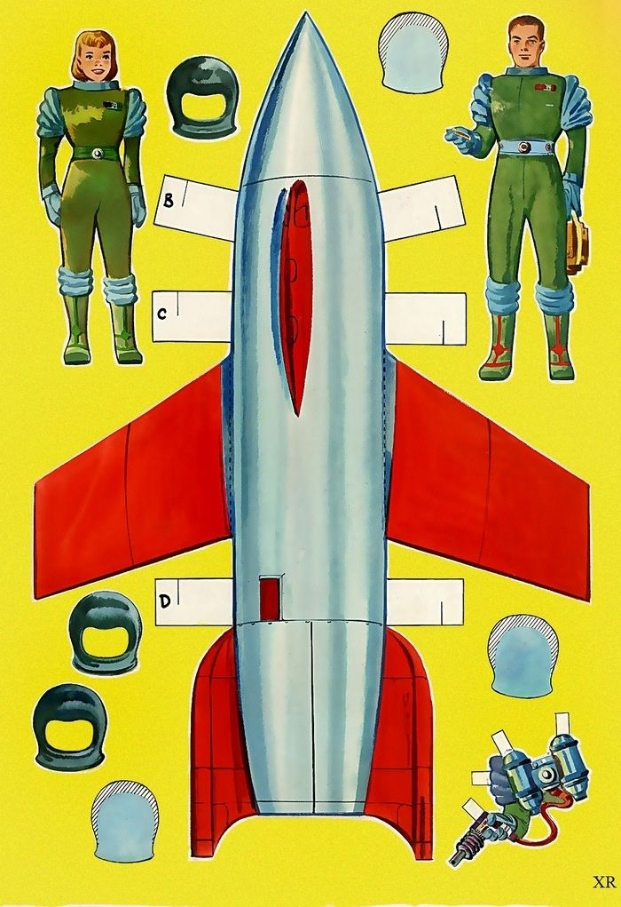 1952 … paste and cut space program | Rocket | Paper dolls