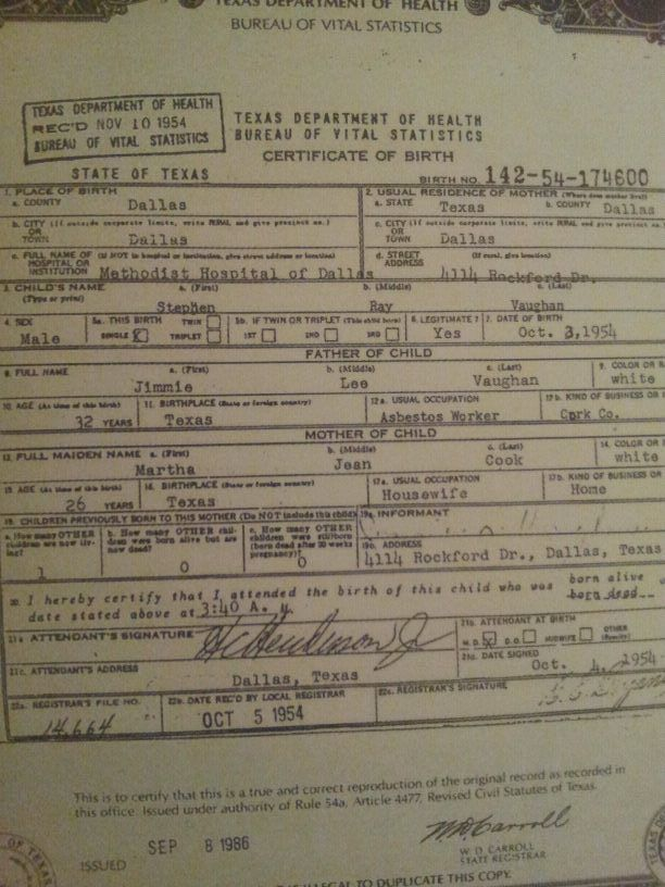 Srvs Birth Certificate Stevie Ray Vaughan Pinterest Birth