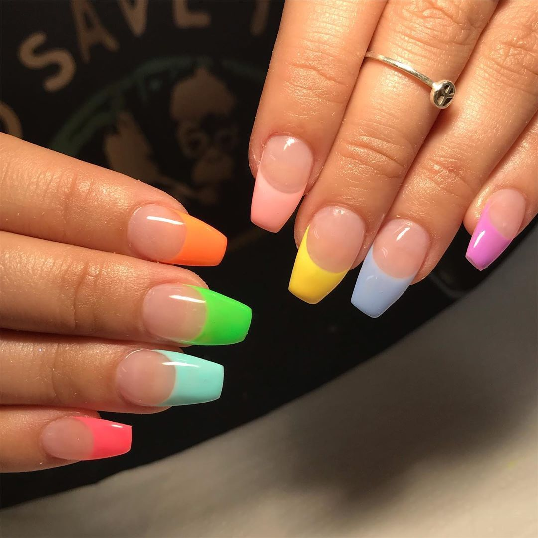 Keshia On Instagram Love A Multicoloured French Tip For Scarysprice Nail In 2020 French Tip Acrylic Nails Colored French Nails French Tip Nail Designs
