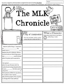 martin luther king jr writing activity in fun newspaper format