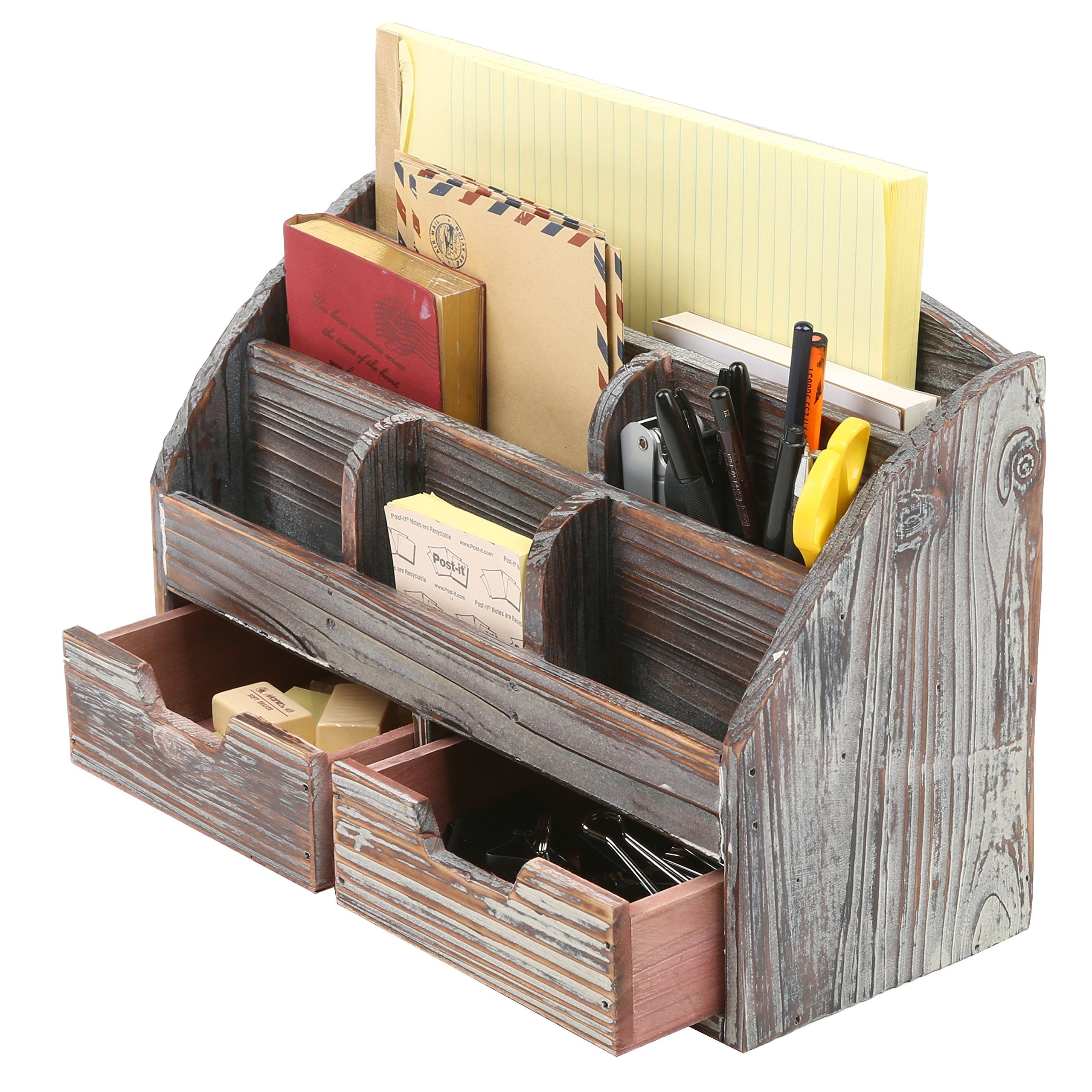 Mygift Distressed Wood Desk Organizer 6 Compartment 2 Drawer Supplies Rack Brown Click On The Im Distressed Wood Desk Desk Organization Wooden Desk Organizer