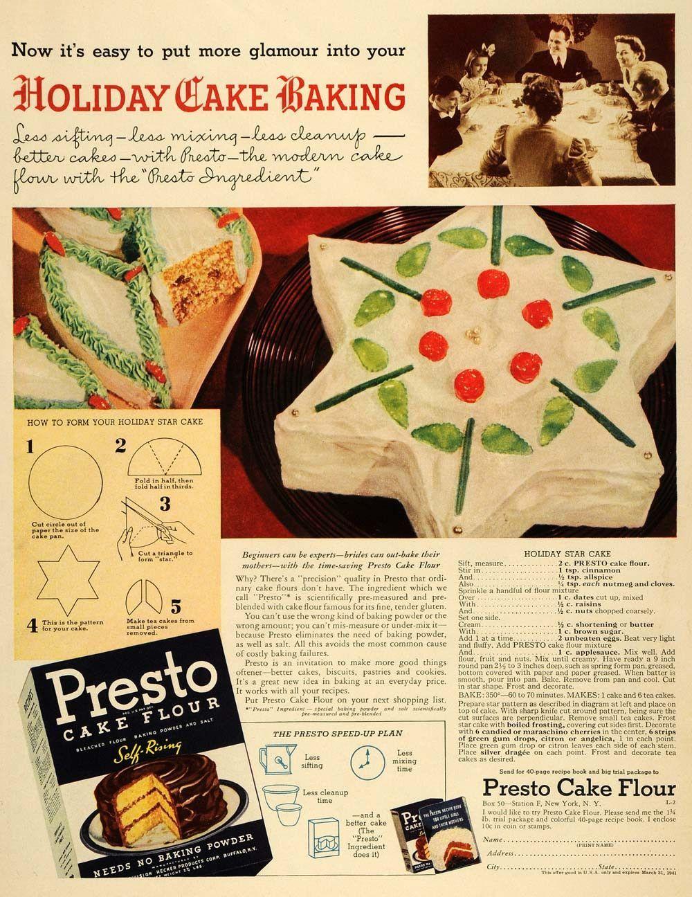 1940 ad presto flour holiday star cake recipe baking