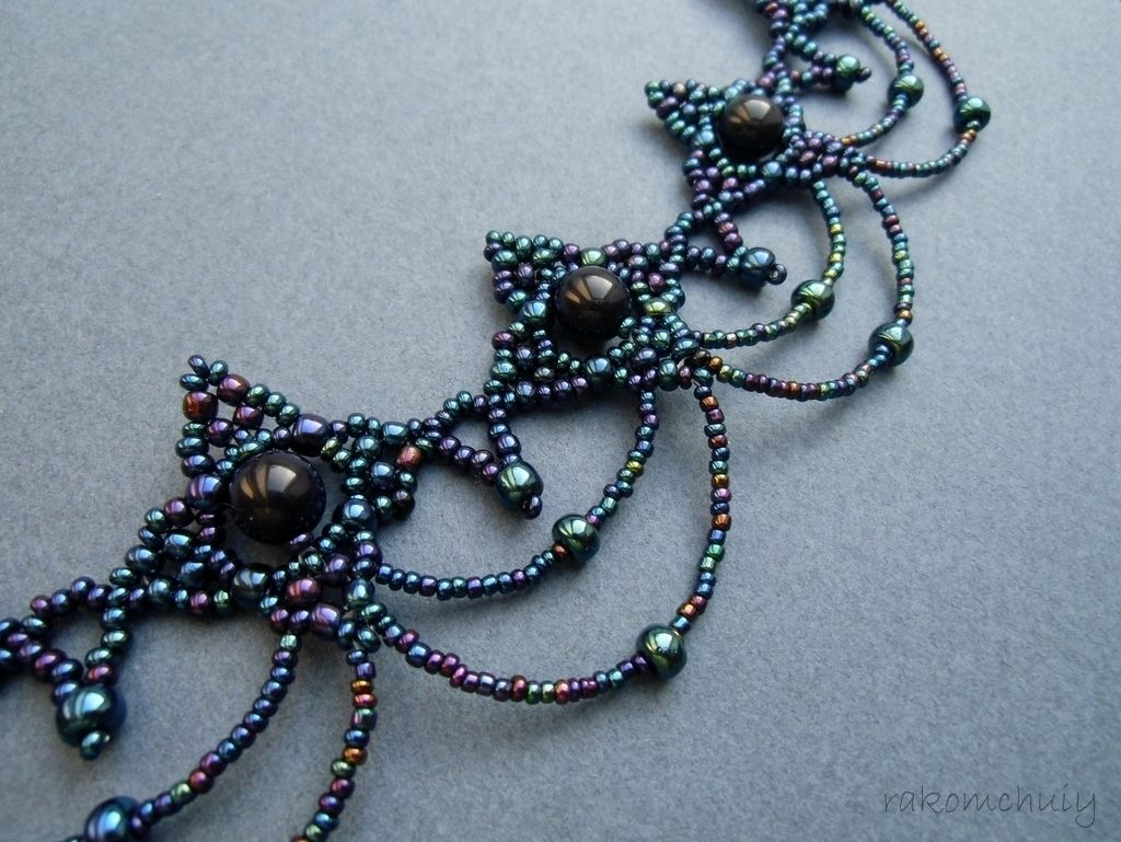 Free pattern for beautiful necklace Cold Evening | Seed Bead