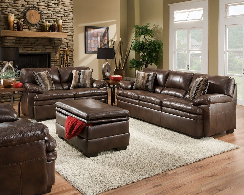Best Brown Bonded Leather Sofa Set Casual Living Room Furniture 400 x 300