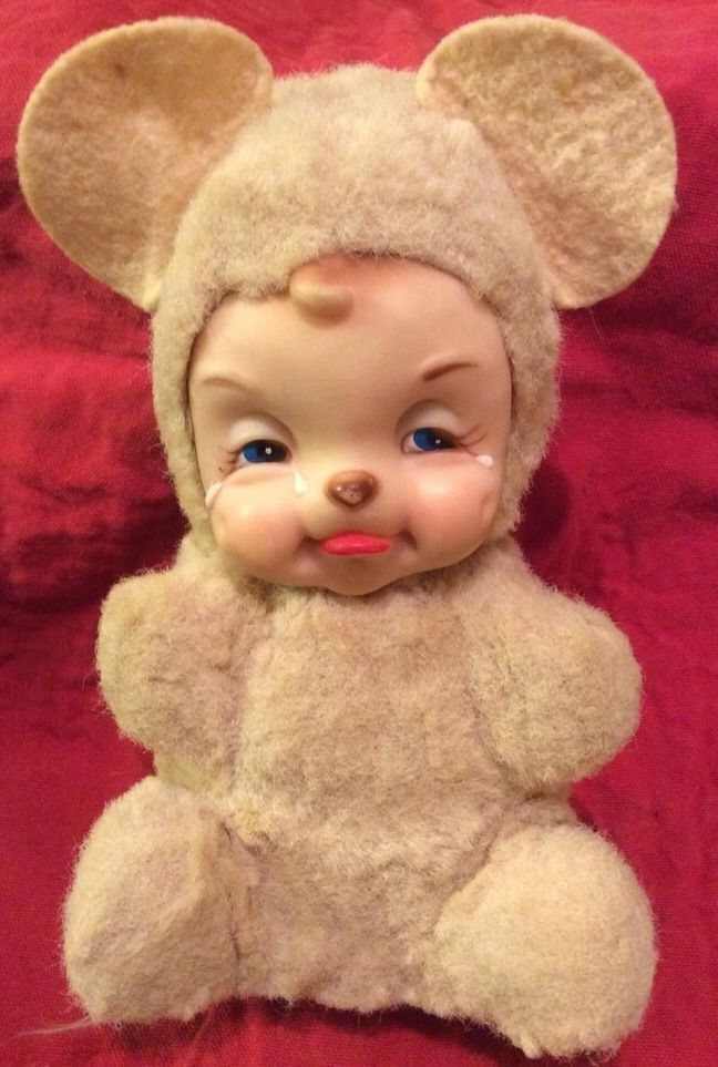Vintage Rushton Crying Rubber Faced Plush Stuffed Baby