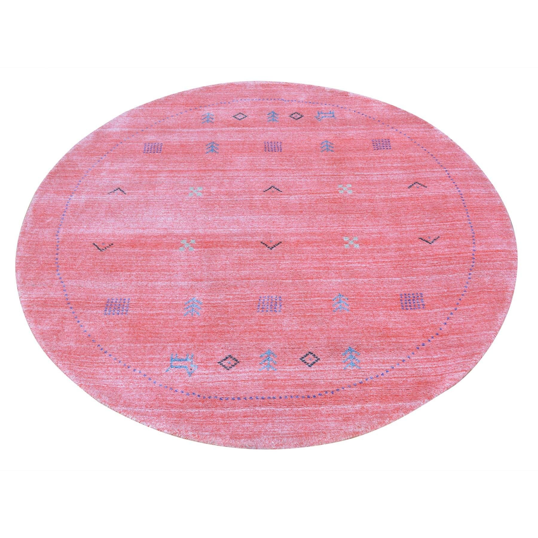 Round Salmon Wool And Silk Loomed Gabbeh Rug Products