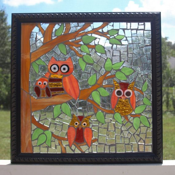 Stained Glass Mosaic Repurpose Frame Owls Tree Window | Reutilizar ...