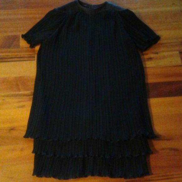 Unique Dress Dress That Flows With Lots of Pleats! Unique Leather Like Trim Around Neck Zi Zi  Dresses