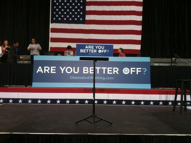 The platform where Paul Ryan was set to speak in Cedar Radips, Iowa today. #RomneyRyan2012