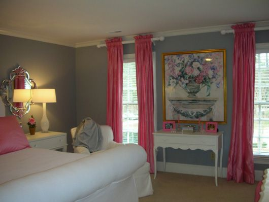 blue bedroom | gray blue bedroom with pink curtains design your ...