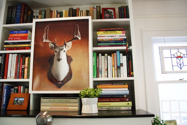 We love where this printed taxidermy photo is placed!
