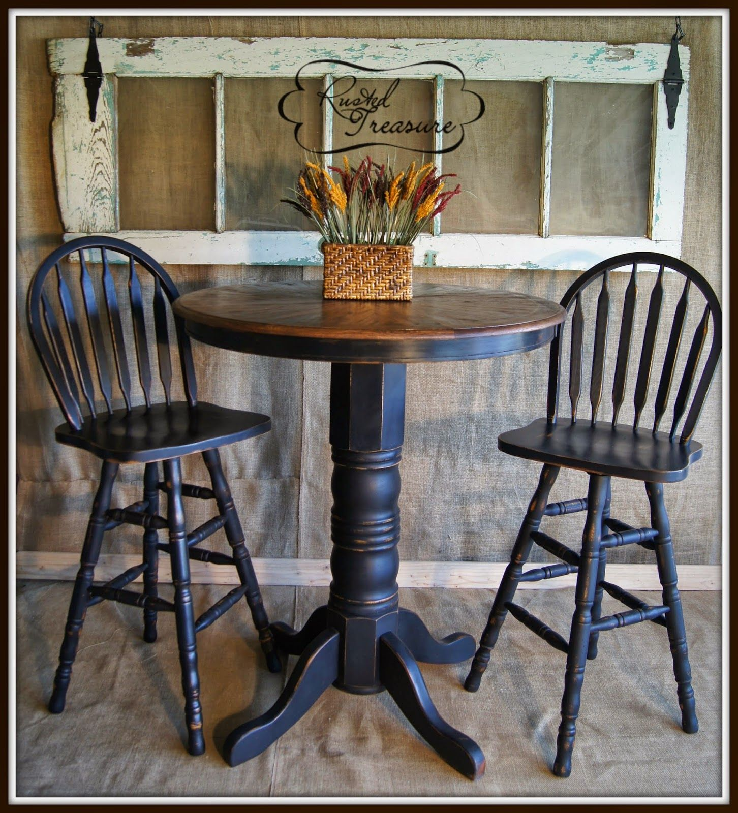 Distressed Black Bar Top Table And Chairs,diy,tutorial,old Door,rustic