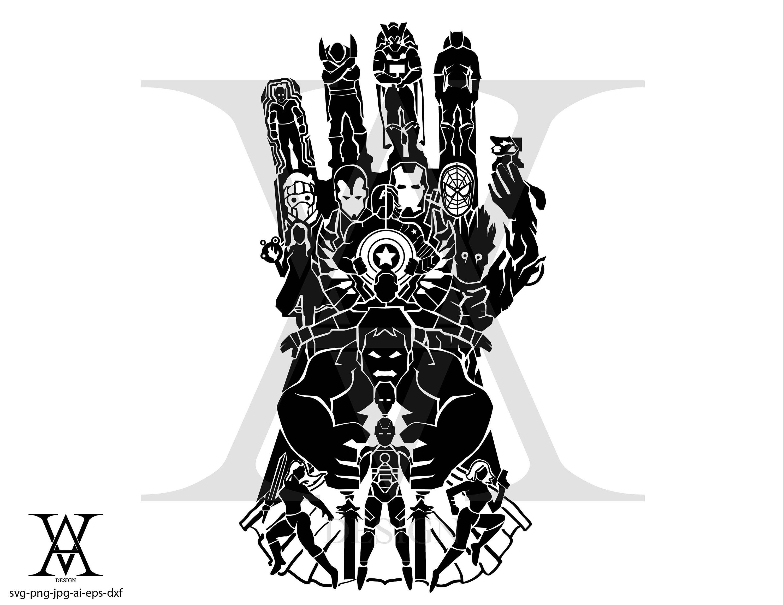 Avengers, Marvel, silhouette, clipart, vector. INSTANT