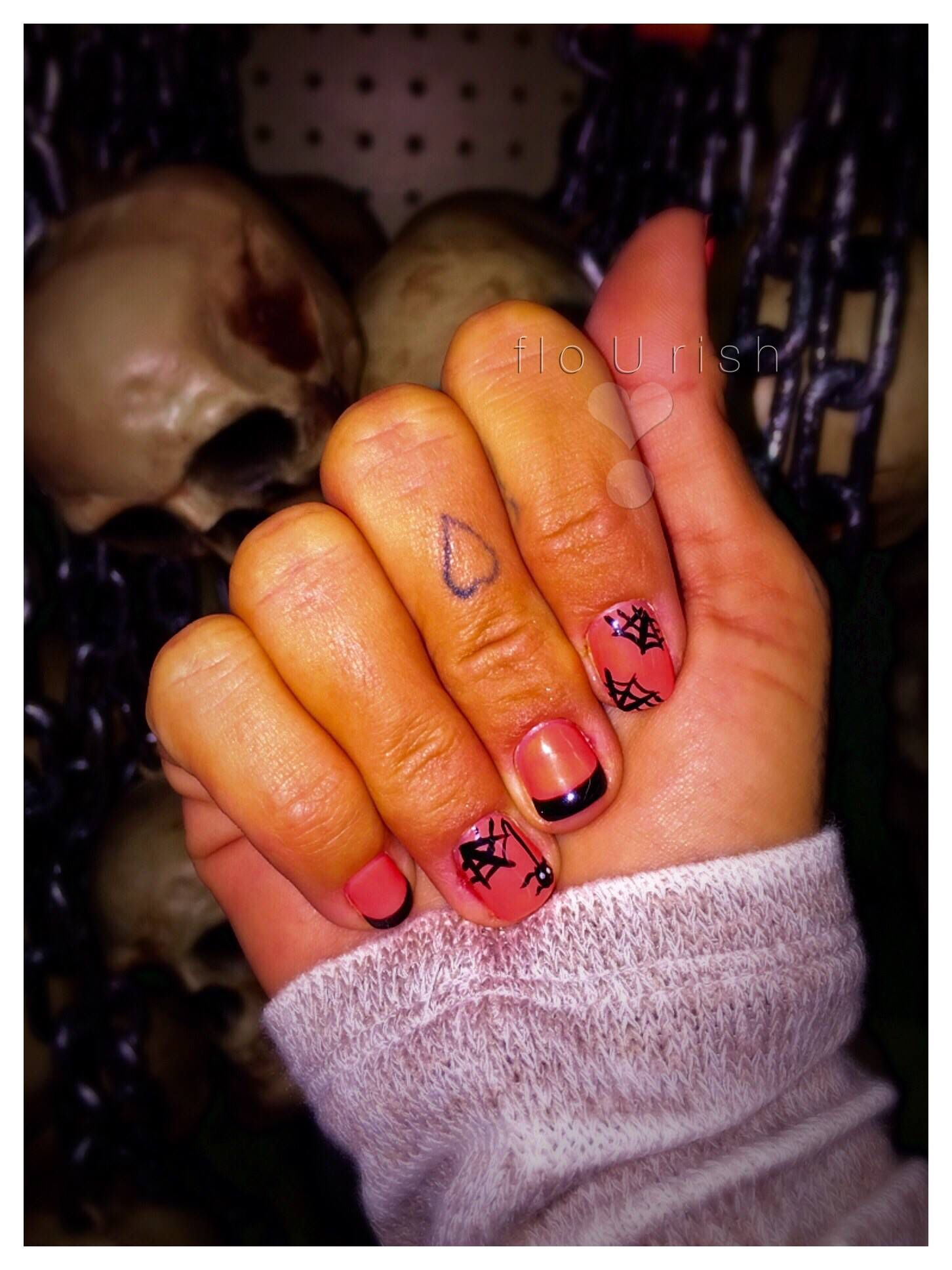 HalloweenNails #Spooky #freaky #weird #cute #designs #orange #black ...