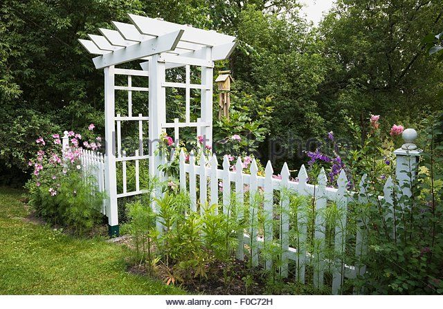 garden-arbour-and-white-picket-fence-f0c72h.jpg (640×447)