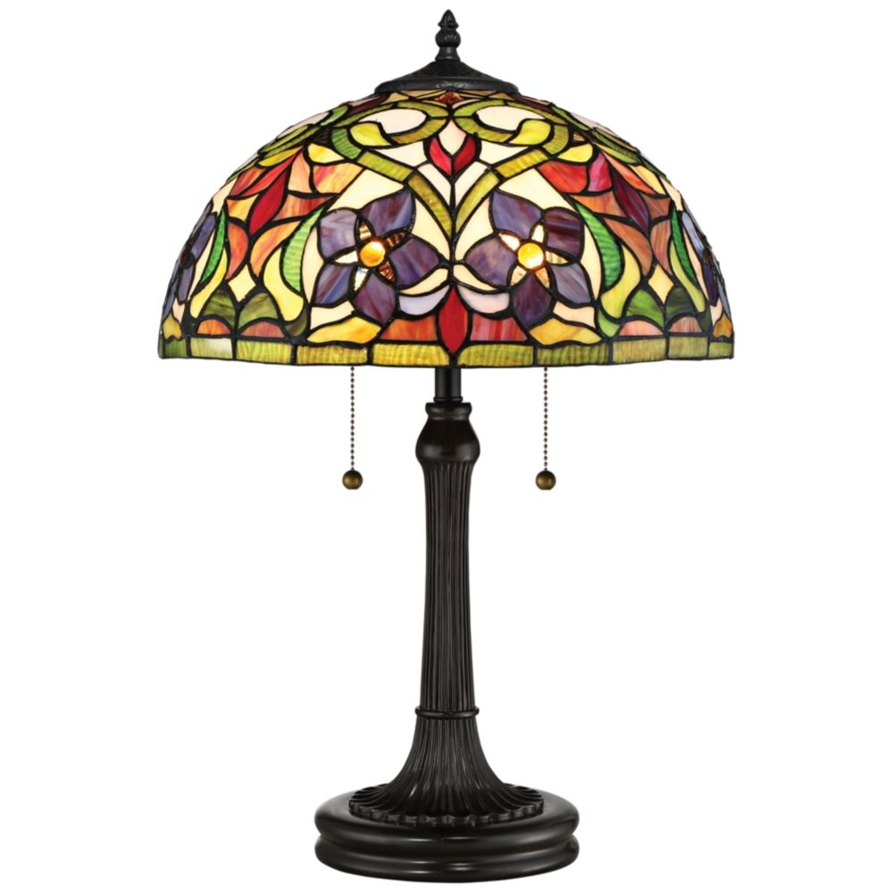 Quoizel Violets Vintage Bronze Tiffany Style Art Glass Table Lamp Style 16p70 Lampe Violet