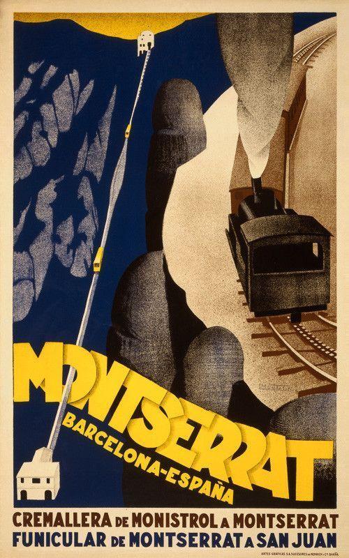 "Spain Travel Inspiration - Montserrat, Barcelona, España. ""Cremallera de Monistrol a Montserrat. Funicular de Montserrat a San Juan."" This vintage travel poster shows a funicular railway going up Montserrat mountain in Barcelon"
