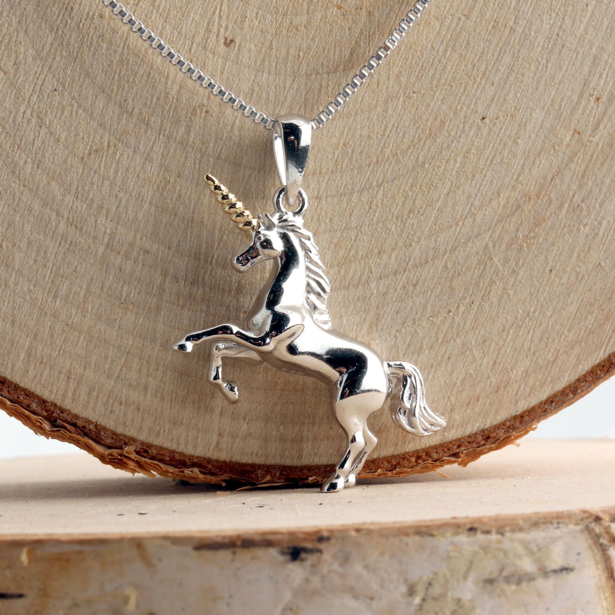 Sterling Silver Diamond Unicorn Pendant   Charm Diamond