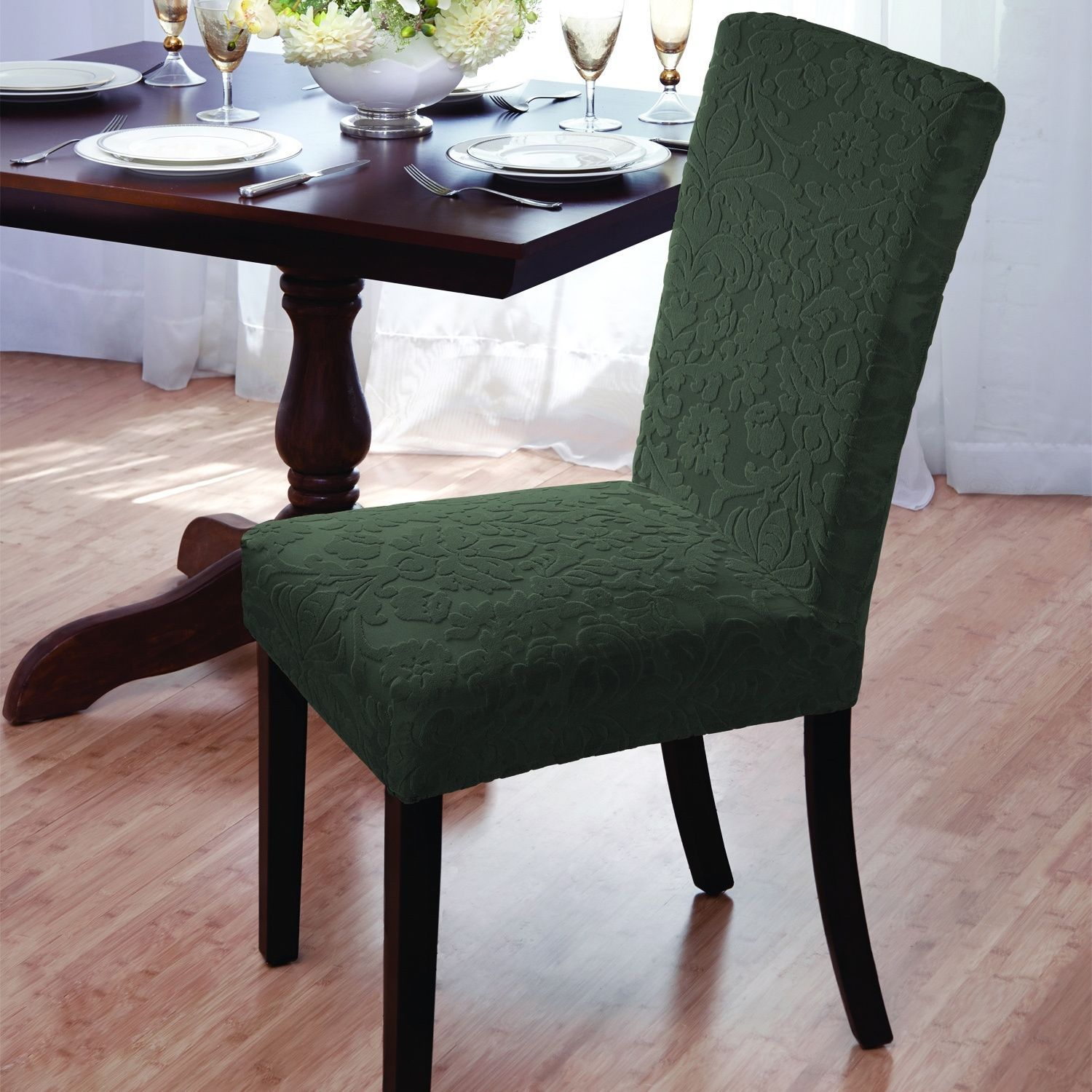 Madison Velvet Damask Stretch Dining Chair Slipcovers (Green) (Geometric)