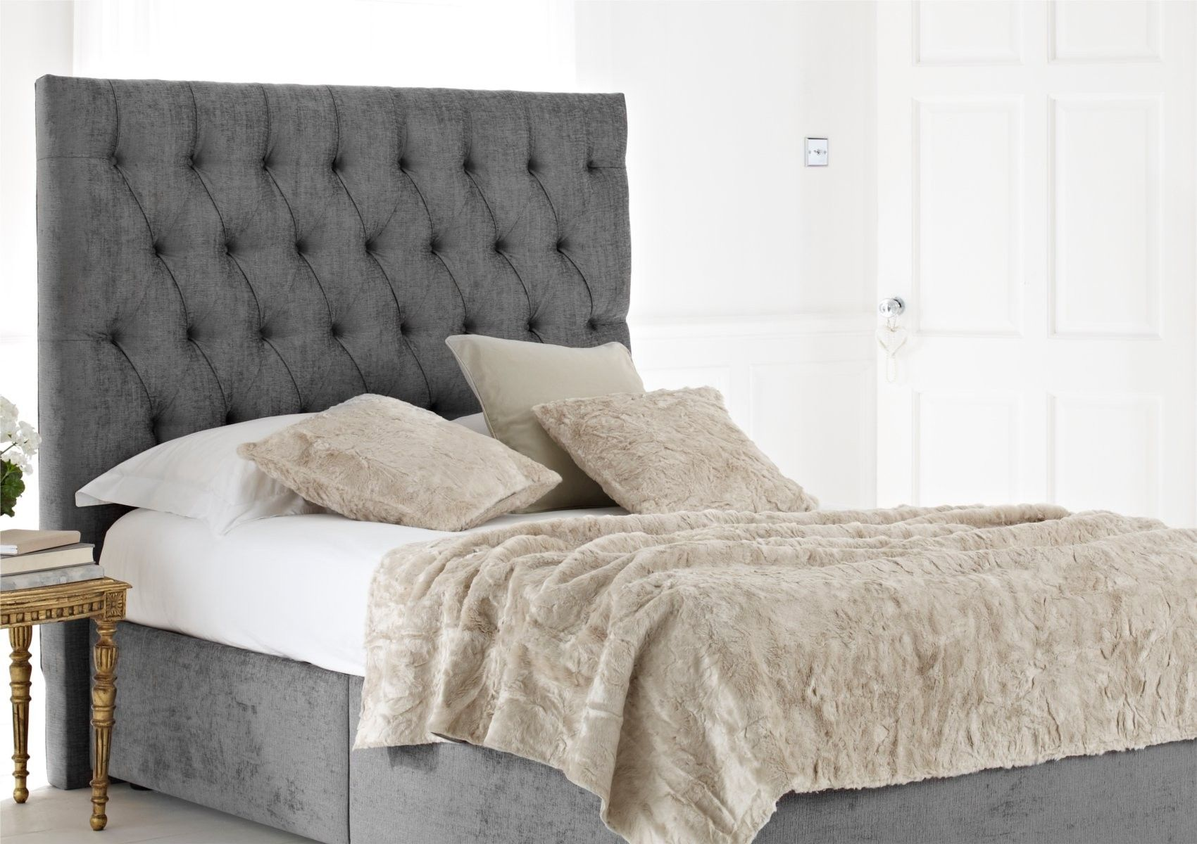 furniture modern headboard with dark grey bed also white mattress