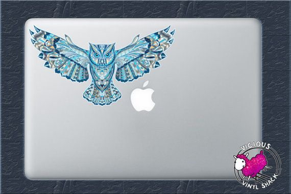 blue pattern flying owl color vinyl decal sticker car window macbook