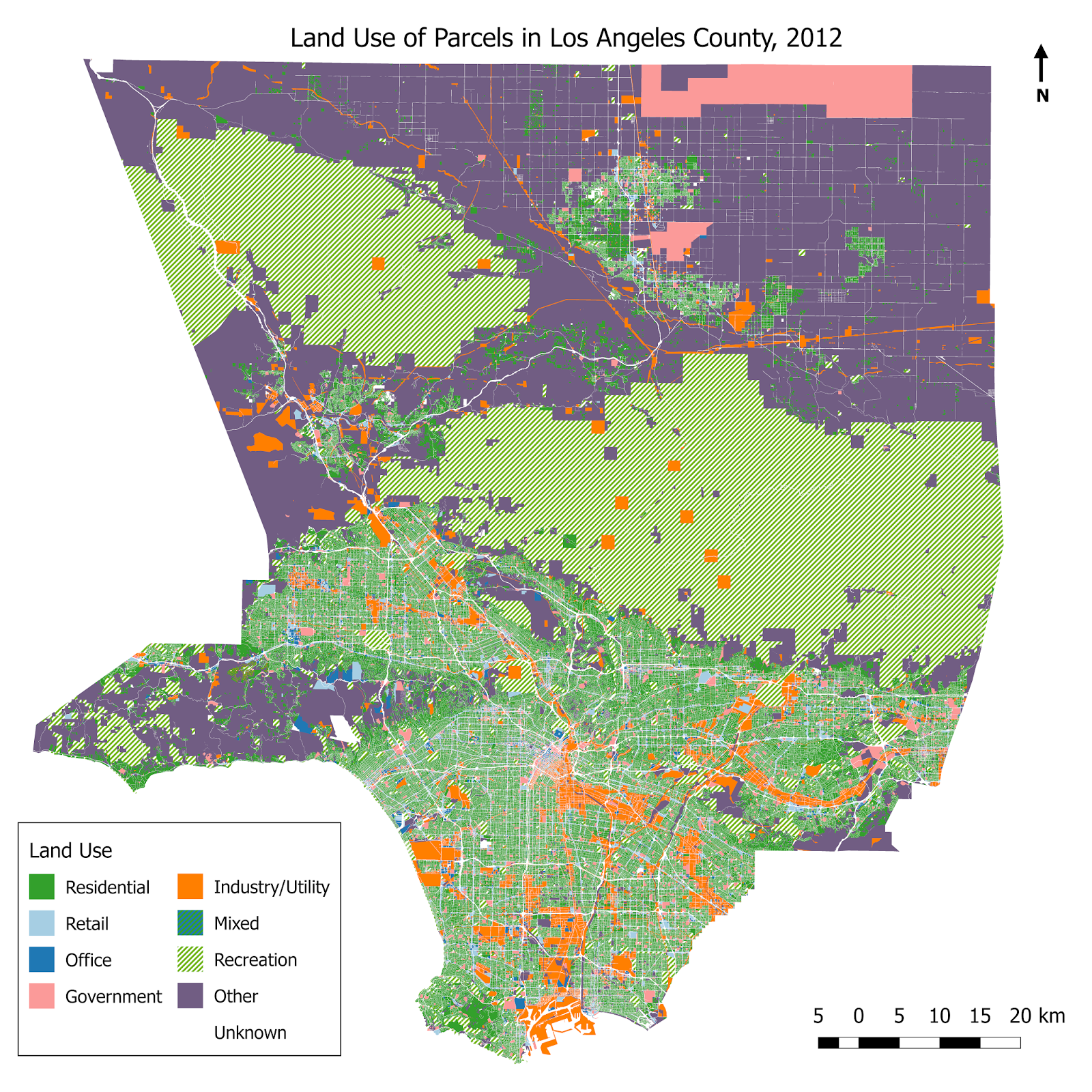 Land Use In Los Angeles County Vivid Maps Los Angeles County Los Angeles Land Use