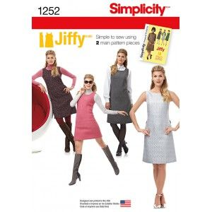 Misses' Jiffy 1960's Vintage Dress Jumper Fabric Sewing Pattern 1252