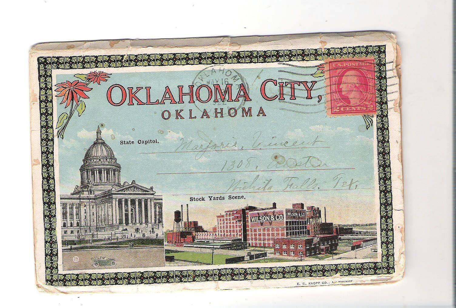 1920 S Souvineer Folder Oklahoma City Oklahoma Postcard Postcard