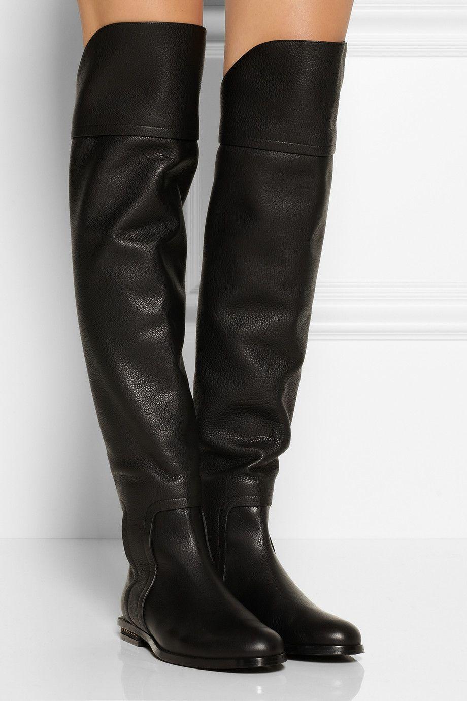 eaaf59c46c5 Black Leather Vogue Designer Flat Knee High Boots