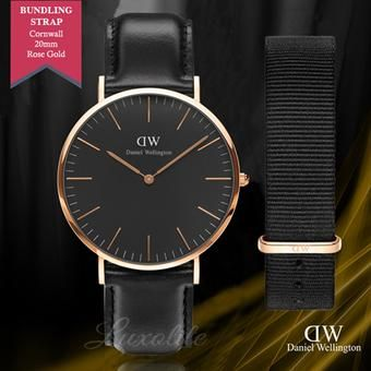 4afbccb96622 Buy Daniel Wellington Classic Black Sheffield 40mm with Free Wristband  Strap Classic Black Cornwall 20mm Rose Gold WH BUNDLE online at Lazada.